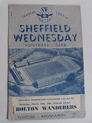 1953/54 Sheffield Wednesday V Bolton Wanderers - Fa Cup 6Th Round