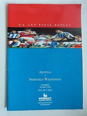 1993 Fa Cup Final Replay - Arsenal V Sheffield Wednesday  - Wembley - Vgc