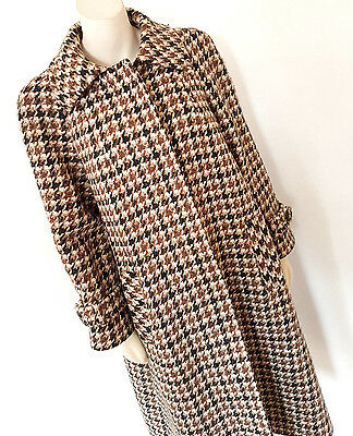Vintage 1960s 60s Aquascutum Mod Hounds Tooth Swing Coat Size 12 - 14