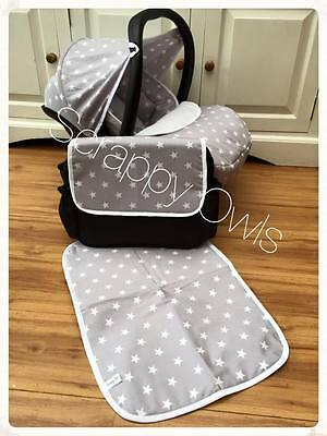 Maxi cosi Cabriofix car seat GREY STARS Custom made hood,covers,blanket,apron