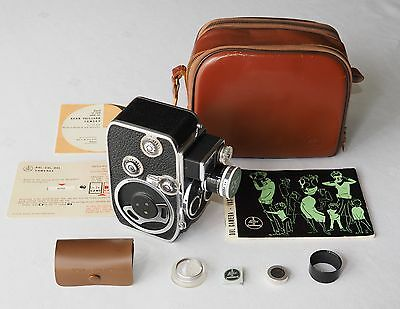 BOLEX DBL TRIPLE TURRET 13mm 1.8 YVAR CASE OWNERS MANUAL PAPERS & nr. MINT!
