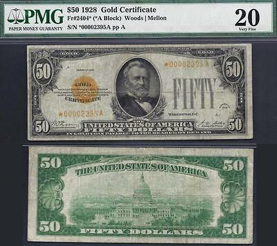 $50 1928==GOLD CERTIFICATE=STAR==Fr. 2404*==EXTREMELY RARE=ONLY 19 KNOWN=PMG VF