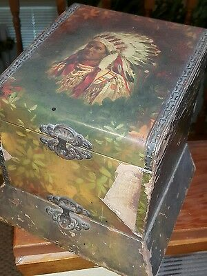 Antique early 1900 Wood native american Floral collar/Tie Box