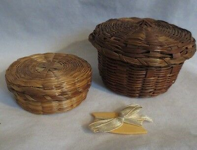 Antique Sweetgrass (?) Miniature Sewing Notions Baskets (2)