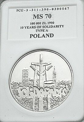 "+++++++ 100000zl   1990   10 lat Solidarnosci typ ""A""   silver !!!!!!   UNC"
