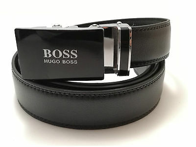 New Model !!! Hugo Boss Mens Belt Automatic Buckle Black Leather
