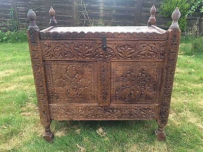 Stunning Antique Asian Carved Dowry Chest