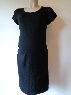 H&m Mama Maternity Black Ruched Short Sleeved T-Shirt Dress Size L 16-18