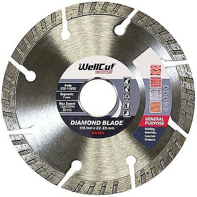 WELLCUT STANDARD Diamond Disc 115 mm Turbo blade for Angle Grinder, Standard ...