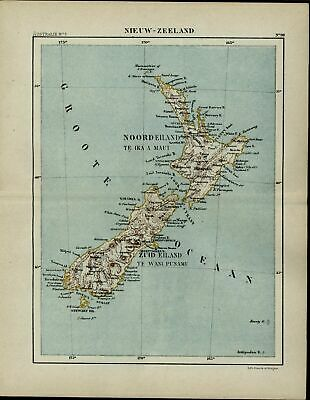 New Zealand Pacific Ocean 1882 charming very detailed color Dutch map