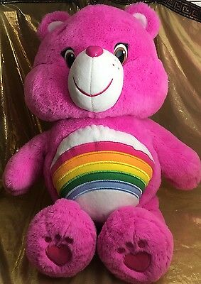 "Care Bears Large Pink 20"" CHEER BEAR Just Play Stuffed Animal Plush EXCELLENT"