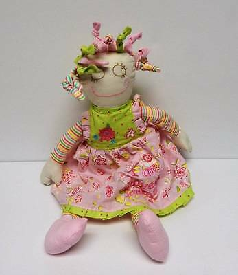 """Maison Chic Shabby Rag Doll Soft Baby I Am Loved Pink Green 16"""" Jeremiah 31:3"""