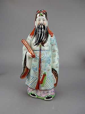 "Antique Chinese Famille Rose Statue of Sho Lu immortal 12""  Imprinted mark"