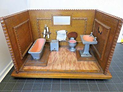 Vintage Dollhouse Miniatures Mid 20th Century Bathroom Roombox 11x7 Collectibles
