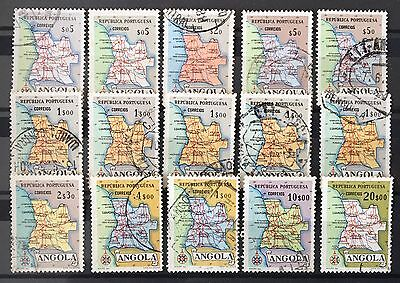 ANGOLA 1955 Geographic map, full set, used ( Lot of 15) Mi № 392-399, Sc#386-393