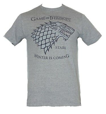 "Game of Thrones Mens T-Shirt - ""Winter is Coming"" House of Stark Blue Wolf Crest"