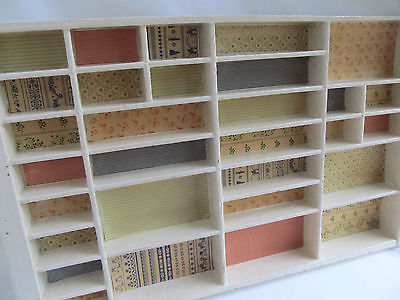 Antique Print Type Tray Painted w/ Wallpaper Swatches Thimble Miniature Display