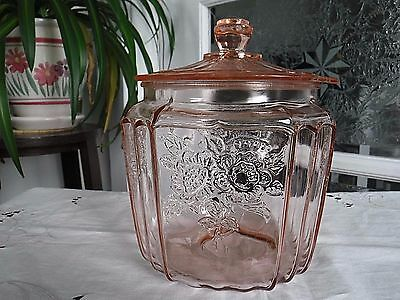 Anchor Hocking Glass Pink Mayfair Open Rose Cookie Jar /lid