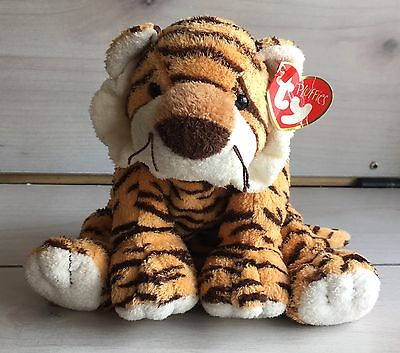 A19 Ty Pluffies Growlers Tiger Cat Plush! W/ Tag 10 Inch Stuffed Toy Lovey