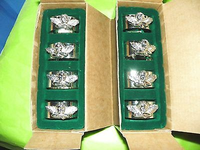 Dept 56 Silver Plated CHERUB ANGELS Napkin Rings 2 Sets of 4  (8psc.)