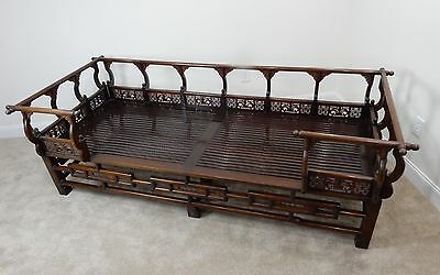 Large Antique Chinese Intricately Carved Rosewood Ming Style Opium Bed / Couch 9