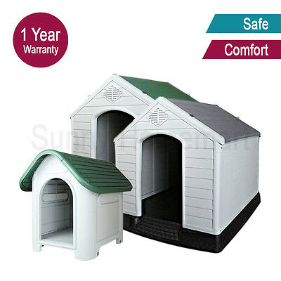 Dog kennel house plastic weatherproof indoor outdoor garden pet comfort M / XL