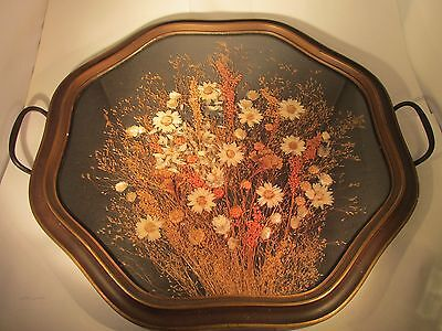 VTG 16X16  Wood/Glass Tray with Beautiful dried flower arrangement (Nice)