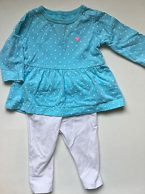 Pre Owned Carter's Light Blue Long Sleeve Polka Dot Top With White Pant 3 Months
