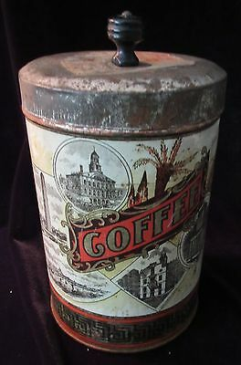 Nice Rare Antique Thos. Wood & Co, Boston, Usa. Coffee Can Cannister