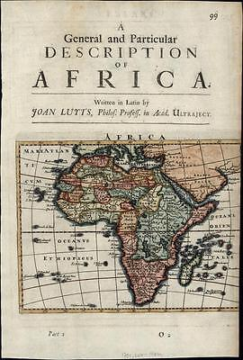 Africa continent Mts. of Moon mystery? 1701 Moll old antique rare map
