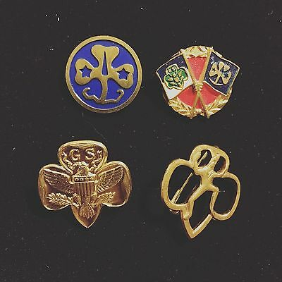 Vintage Girl Scout Brownie Junior Trefoil Pins 1970's and 1980's: Set of Four