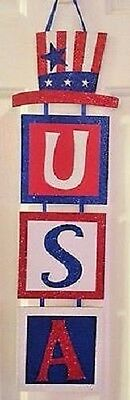 """New USA Glitter Red White Blue Patriotic Door Wall Sign Hangs 20"""" Long Olympics"""