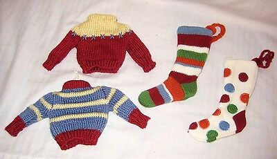4 KNIT SWEATERS & STOCKINGS Stripe/Polka Dot CHRISTMAS TREE ORNAMENTS