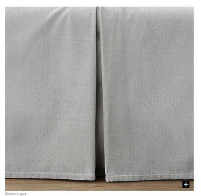 New Restoration Hardware Crib Skirt Box Tufted Velvet Grey Nursery Bedding