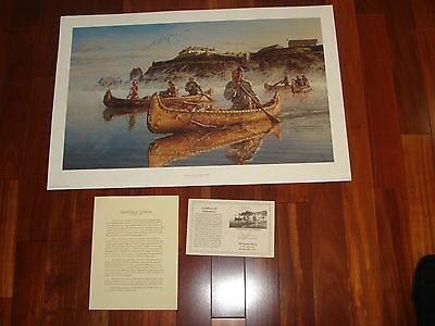 DEPARTURE AT DAYBREAK SIGNED ARTIST PRINT by ROBERT GRIFFING - INDIAN ART, 20x30