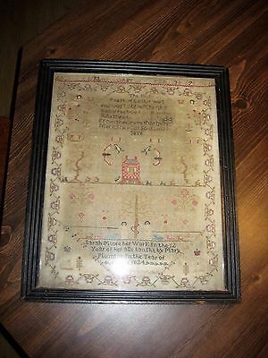 Antique 1824 Sampler Adam & Eve with Animals Sarah Moore Mary Plumton Easter