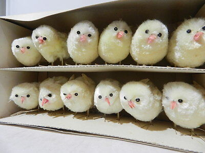 Vintage Chenille Spring Chickens (12 Pieces) Mint In Box 1960 Made In China
