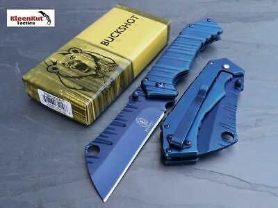 "NEW 8"" TACTICAL Spring Assisted TITANIUM Pocket Knife CLEAVER RAZOR Blue FOLDING"