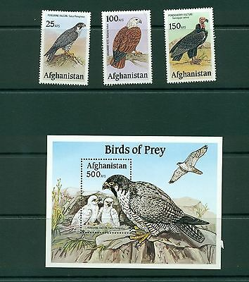 set of three and s/sr MNH,  Afghanistan Birds of prey set,  unissued
