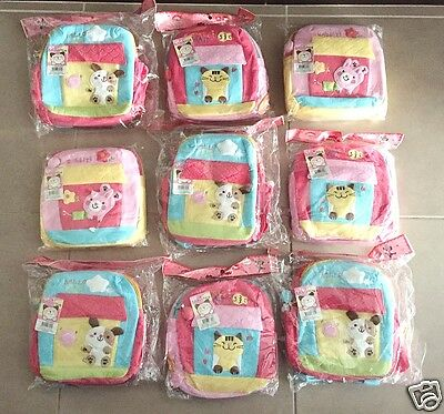 Bulk Lot 8 x New Embroidered Applique Kids Soft Back Packs. Great for reselling!