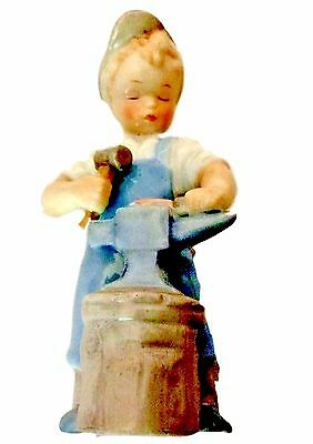 Blue Danube China Figurine Little Boy With Hammer & Anvil Blacksmith - C