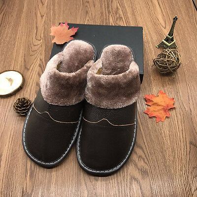 Warm Thick Fur Lining Home Leather Slippers Soft Sole  Non Slip Flats for Men