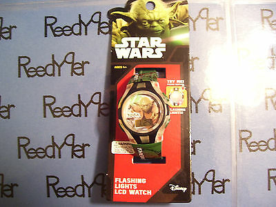 """Star Wars Yoda LCD Watch Flashing lights clock """"There Is No Try"""" saying on band"""