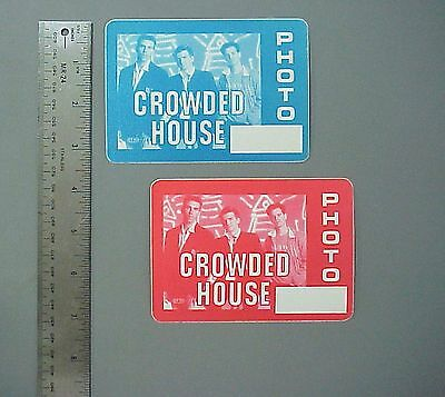 Crowded House satin cloth backstage pass 2 PHOTO Passes !