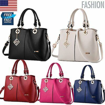 Women PU Leather Tote Bag Purse Messenger Handbag Shoulder Crossbody Fashion USA