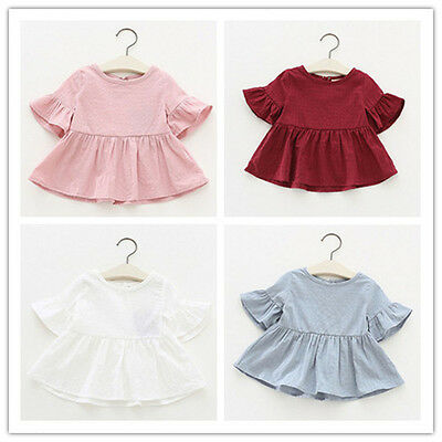 Toddler Newborn Baby Kids Girls Flare Sleeve Tops T-shirt Blouse Tee Mini Dress