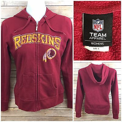 Womens NFL Washington Redskins Zip Front Hoodie Sweatshirt Sz SM Distressed Logo