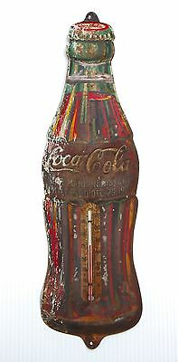 Vintage  Coca Cola Bottle Thermometer Sign ~ Metal ~ Dec. 25,1923