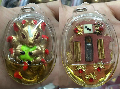9 Tails Fox Gumiho Kitsune Magic Charm Lucky Rich Oil Pendant Thai Amulet Love
