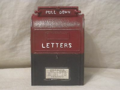 cast iron coin bank vintage letters post office mail collection box mailbox JW